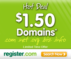 Special Offer: Domain Names $1.50 per year.
