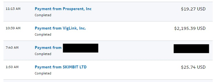 PayPal payments from Prosperent, Viglink and Skimlinks