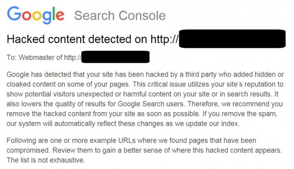 Google Search Console Hacked content detected