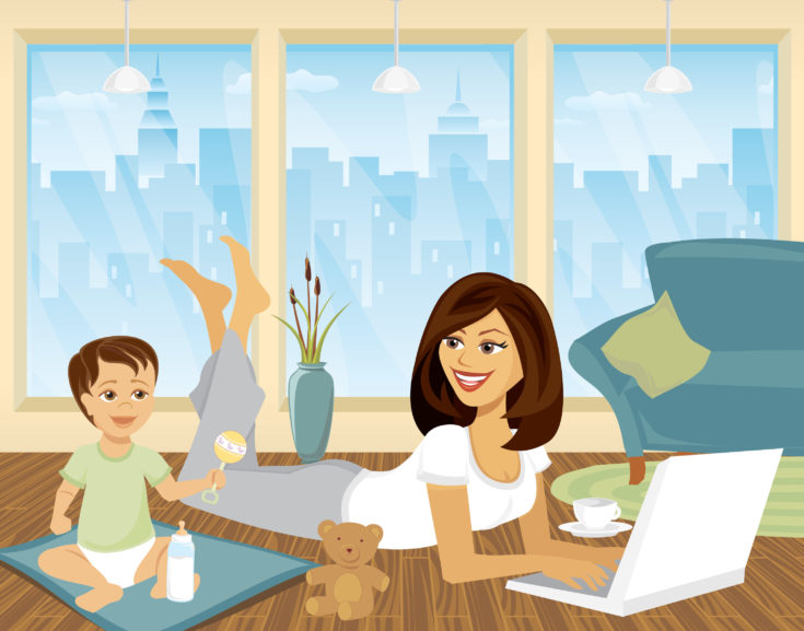 Cartoon Work at Home Mom with Kid on computer