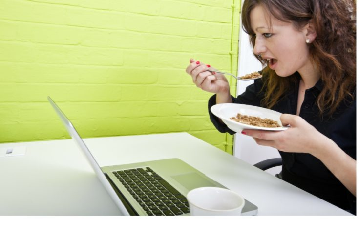 eating at desk